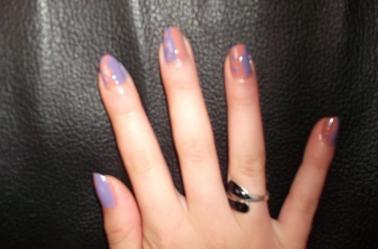 13ème Article : Vagues+points beige+violet