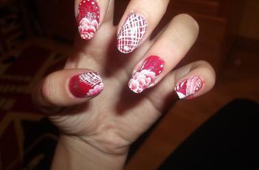 107ème Article : One stroke rouge (inspirée de cherry nail art)