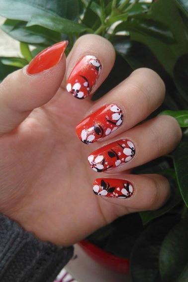 209ème Article : Fleurs N&B base orange
