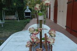 compos de roses sur miroire