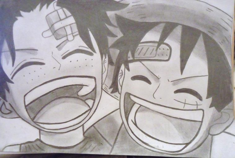 Dessin One piece : Luffy et Ace Enfant