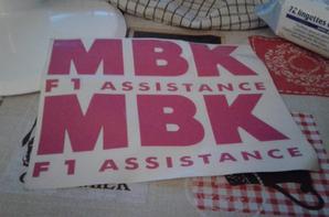 Autocollants MBK F1 ASSISTANCE VENDU PARTI N'A PLUS  !!