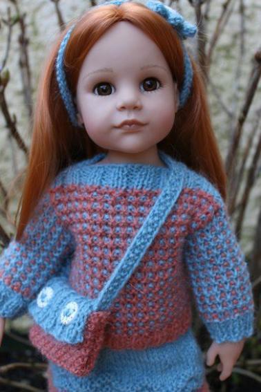 tuto tricot : pull et jupe poupée 50 cm.