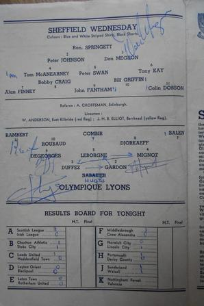 Sheffield Wednesday Vs OL program (signed)
