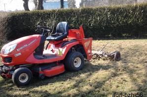 tracteur tondeuse kubota + herse pour pelouse