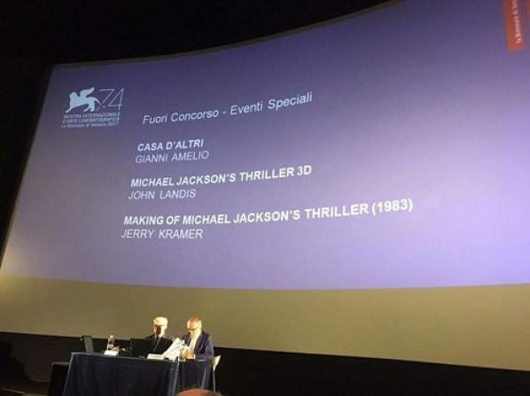 """C'est officiel, le festival de Venise a dévoilé la liste de son programme. Le court métrage """"Thriller"""" en 3D sera diffusé (hors compétition dans la catégorie événement spécial) ainsi que le making of (du clip original). Le festival débutera le 30 août et se terminera le 9 septembre 2017."""