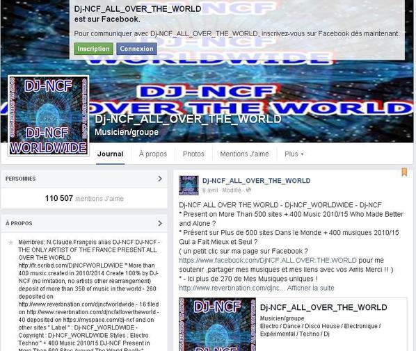 En haut ma page D'Artiste sur facebook non connecter et en bas connecter