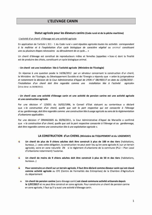 INFORMATIONS POUR LA CONSTRUCTION D'UN CHENIL