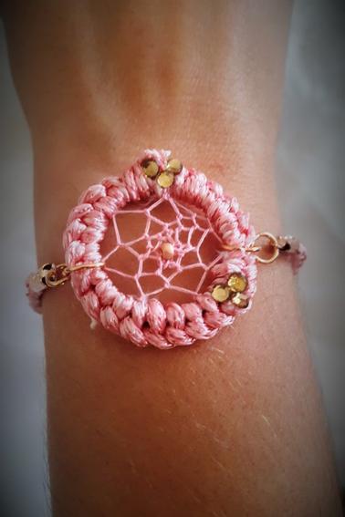 bracelet attrape-rêve rose