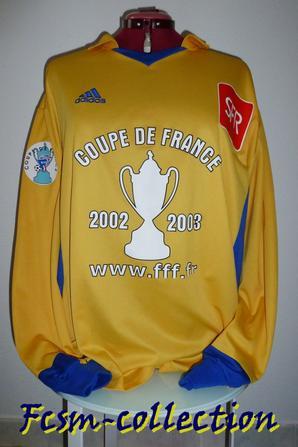 Maillot porté par Benoit PEDRETTI contre Grenoble en Coupe de France le 04/01/2003