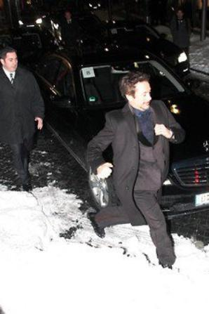 Robert leaving The 'Sherlock Holmes' Berlin Premiere on 12th January 2010