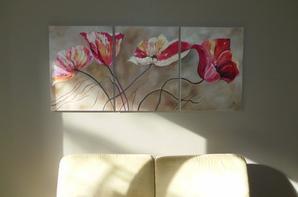 ma deco maison !!!triptyque  peinture huile 60 x80  fois 3 la demande de mon homme !!!
