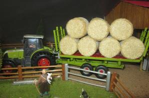Tracteur claas Ares 577 avec remorque plateaux couleur claas