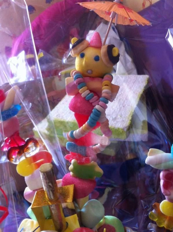 Brochette de bonbon qui se trouve sur le gâteau de bonbon précédent différent model  il y en a 4 grandes et une petite sur chaque gateau