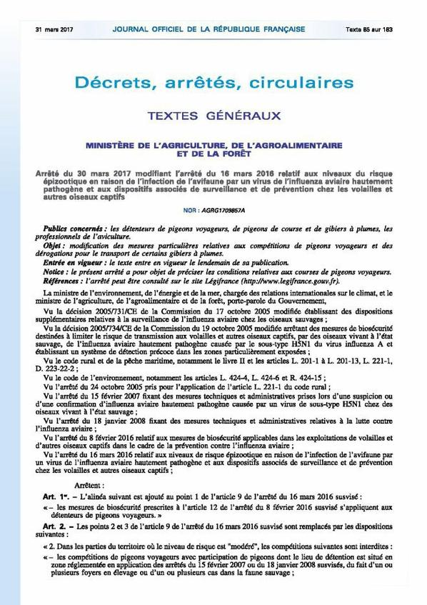 """informations de la FCF concernant le """"Dossier Grippe Aviaire""""."""