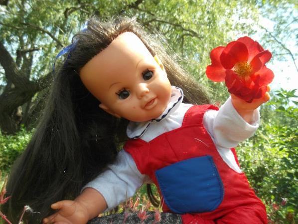 """Petite Crack de Bella vous dit : """"voila j'ai escaladé et croyez moi ce   fut périlleux pour vous coeuillir cette jolie fleur rouge bisous mes amies """""""