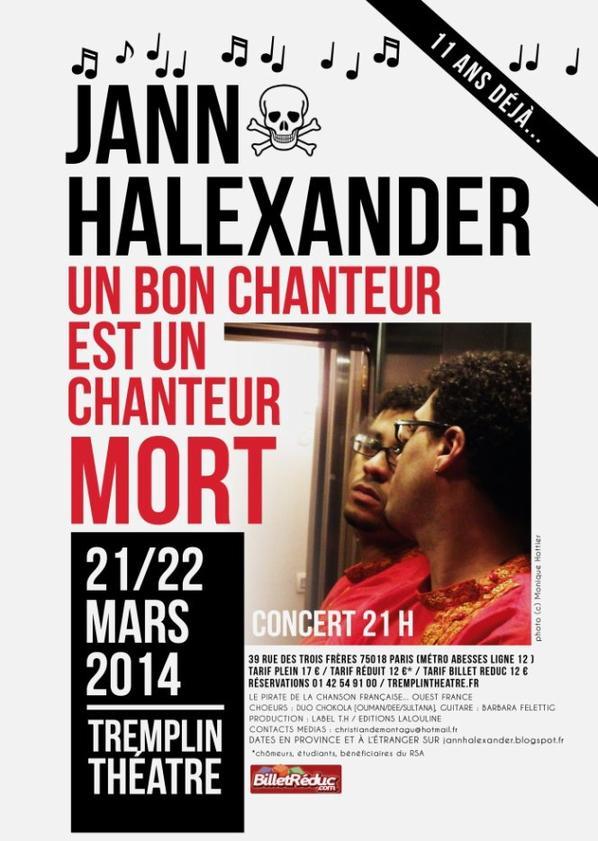 AFFICHE JANN HALEXANDER TREMPLIN THEATRE 21/22 MARS - PARIS - CONCERT