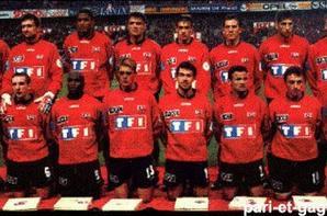 JEROME FOULON : MAILLOT PORTE AVEC GUINGAMP LORS DE LA FINALE DE LA COUPE DE FRANCE 1997 NICE - GUINGAMP.