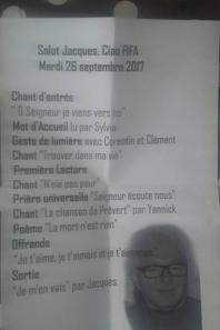 Mardi 26 sept  enterrement de Jacques