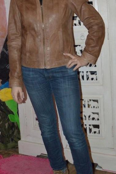 Veste/perfecto en cuir femme marron PROMOD