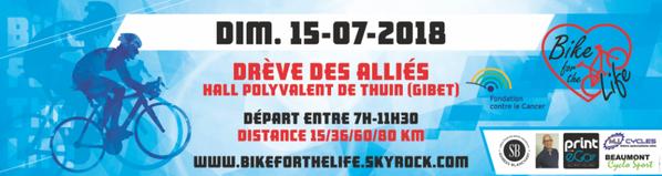 Accès à la CAFETERIA du HALL POLYVALENT de THUIN de 8h à 15h Dimanche 15 juillet 2018 Bikeforthelife Fondation contre le cancer SUPER merci à la Ville de Thuin et aux sponsors !!! :-) TOP!