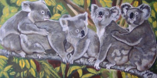 peinture (5 koalas sur une branche) 30x60cm