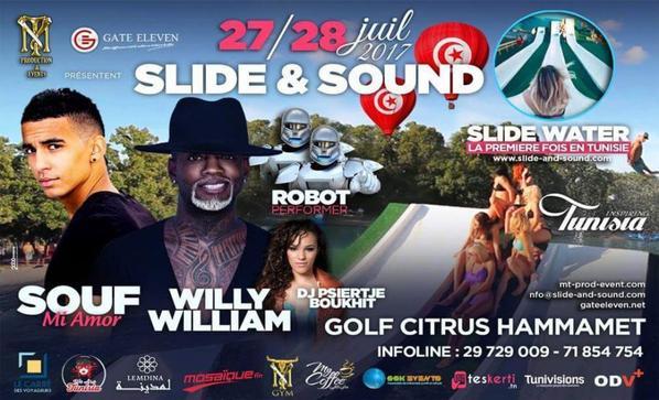 festival Slide water hammamet 27 28 29 juillet 2017& Sound tunisie