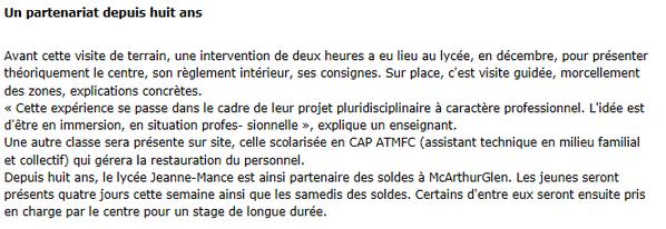 Les lycéens Jeanne Mance en immersion - l'Est-Eclair 11/01/2013