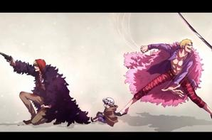 Rossiante vs Doflamingo vs Law
