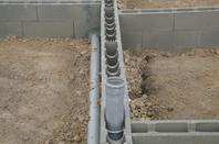 Maçonnerie blocs lourd et réseau d'égouttage