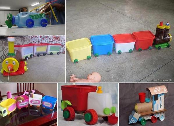 Créer avec des bouteille et des boites en plastique des jouets original pour vos enfants