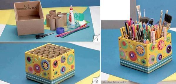 Bricoler avec vos enfants des rangement a partir de rouleau de papier WC et de caisses en carton