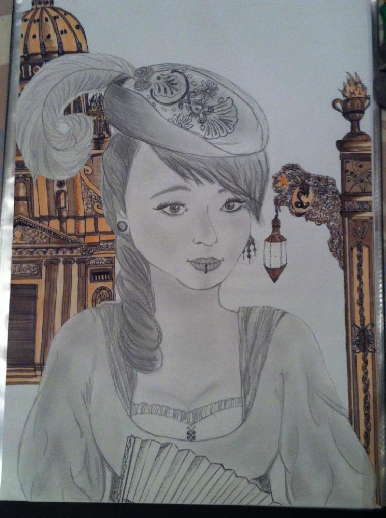 dessin d'un portrait du'une camarade - version époque 18ème