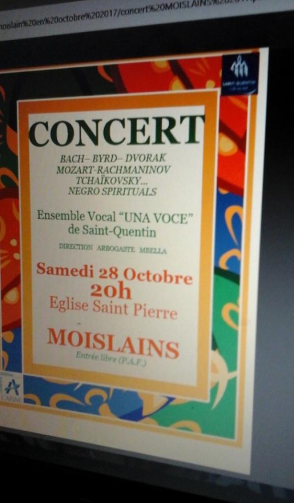 Concert à MOISLAINS le 28 Octobre 2017