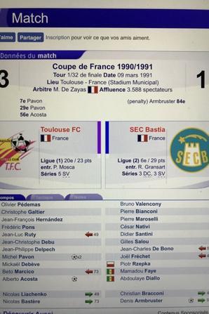 Compositions des matchs de coupe de France du TFC en 90/91
