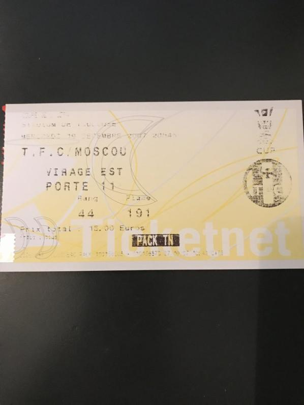 Le billet du match TFC/SPARTAK MOSCOU et autres photos du match du 19/12/2007