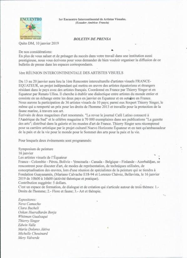 BULLETIN DE PRESSE DE QUITO