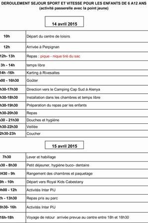 Informations Mini séjour Sport et Vitesse