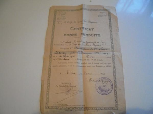 certificat de bonne conduite du 18 RTA