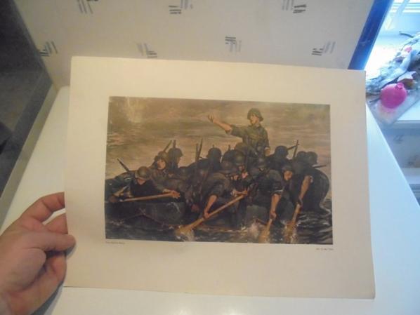 illustration montrant le genie allemand traversant une riviere