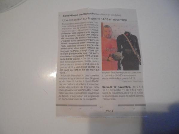 coupures de presse pour mon expoition de 14/18