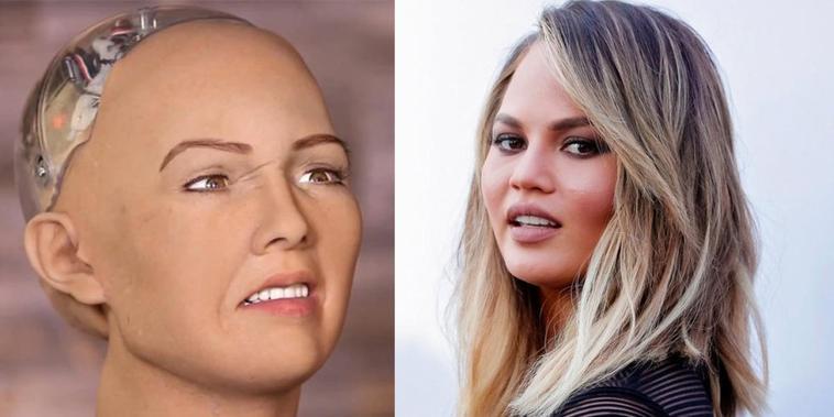 Chrissy Teigen et Sophia le Robot font la paix sur Twitter après Chrissy critiqué son maquillage