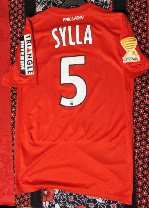 maillot porté en coupe de la ligue par Sylla face à Nante en 16 eme de finale