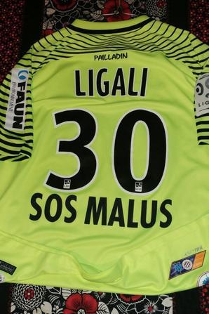 maillot préparé pour Ligali face à Marseille avec bleuet de france