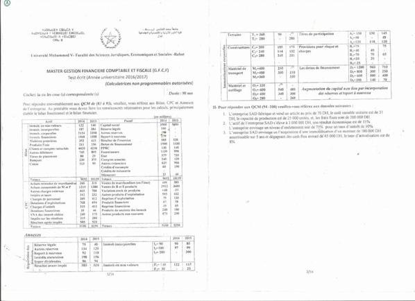 Examen Master Rabat