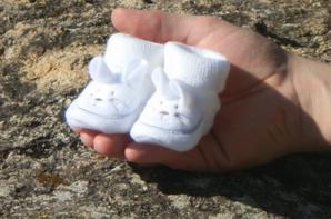 Les premiers chaussons que nous avions choisi pour notre petit Lapinou