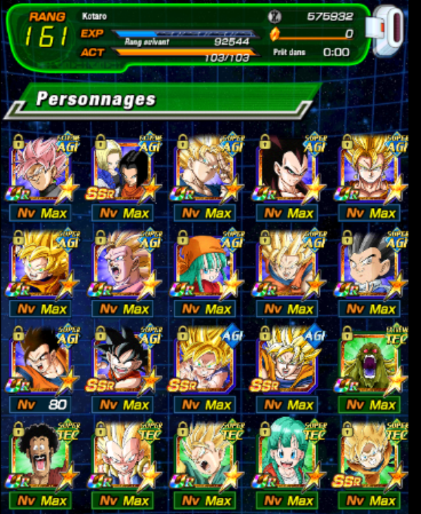 Mes Perso de mon compte dokkan battle en global