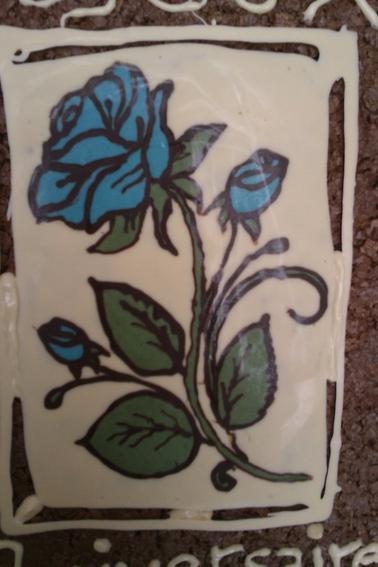 tige rose bleu en chcolat