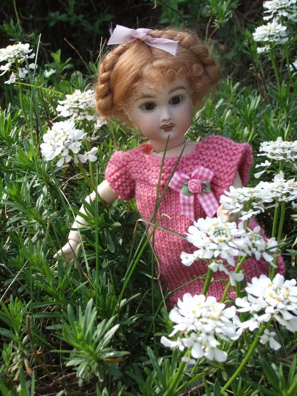 Bleuette profite du jardin au soleil!