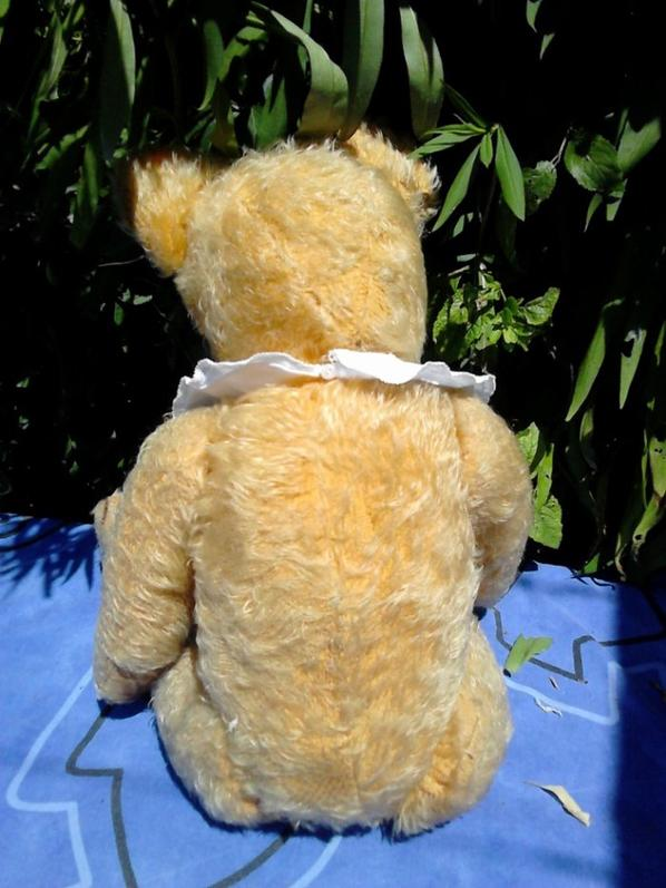 ours ancien fadap ou pintel 1940 restaure 55cm, yeux en verre articule interieur paille, bosse dans le dos